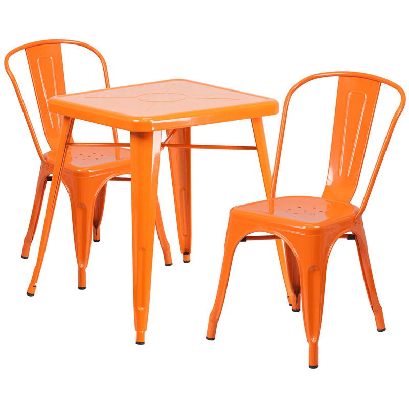 Charmant Nico Metal Indoor Outdoor Table Set With 2 Stack Chairs